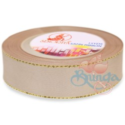 24mm Senorita Gold Edge Satin Ribbon - Bleeker Beige 807G