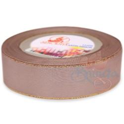 24mm Senorita Gold Edge Satin Ribbon - Pinky Brown 808G