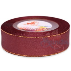 24mm Senorita Gold Edge Satin Ribbon - Merlot 809G
