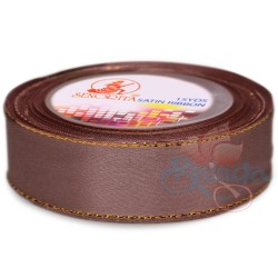 24mm Senorita Gold Edge Satin Ribbon - Deep Taupe 810G