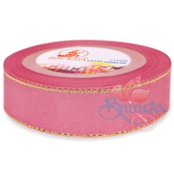 24mm Senorita Gold Edge Satin Ribbon - Classic Rose 811G