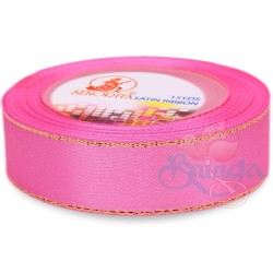 24mm Senorita Gold Edge Satin Ribbon - Carnation Pink 812G