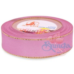 24mm Senorita Gold Edge Satin Ribbon - Vintage Pink 814G