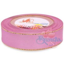 24mm Senorita Gold Edge Satin Ribbon - Vintage Pink 814G