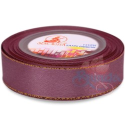24mm Senorita Gold Edge Satin Ribbon - Old Purple 816G