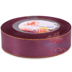 24mm Senorita Gold Edge Satin Ribbon - Mulberry 818G