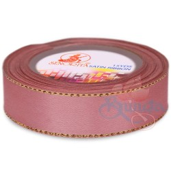 24mm Senorita Gold Edge Satin Ribbon - Rose Gold 820G