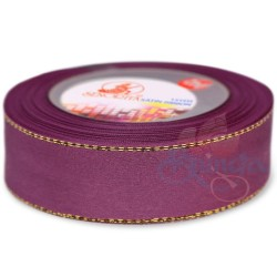 24mm Senorita Gold Edge Satin Ribbon - Plum A38G