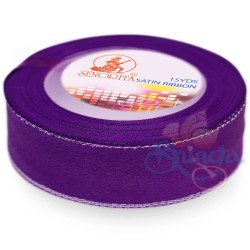 24mm Senorita Silver Edge Satin Ribbon - Purple 014s