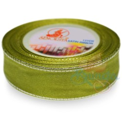 24mm Senorita Silver Edge Satin Ribbon - Olive Green 208s
