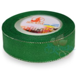 24mm Senorita Silver Edge Satin Ribbon - Forest 26s