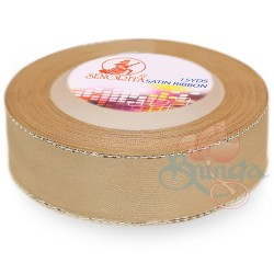 24mm Senorita Silver Edge Satin Ribbon - Light Tortilla 52s
