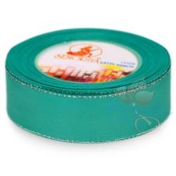 24mm Senorita Silver Edge Satin Ribbon - Tiffany Blue 548s