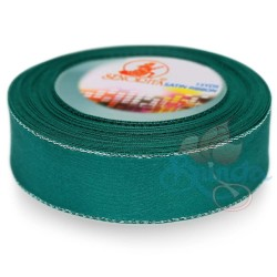 24mm Senorita Silver Edge Satin Ribbon - Teal 549s