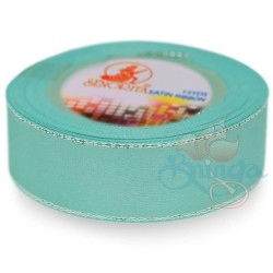 24mm Senorita Silver Edge Satin Ribbon - Light Turquoise 802s