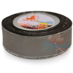 24mm Senorita Silver Edge Satin Ribbon - Metal Grey 805s