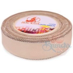 24mm Senorita Silver Edge Satin Ribbon - Pink Beige 806s