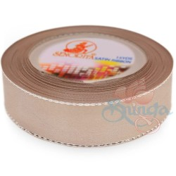 24mm Senorita Silver Edge Satin Ribbon - Bleeker Beige 807s