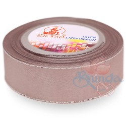 24mm Senorita Silver Edge Satin Ribbon - Pinky Brown 808s
