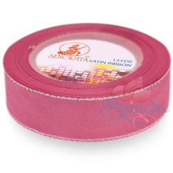 24mm Senorita Silver Edge Satin Ribbon - Classic Rose 811s