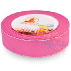 24mm Senorita Silver Edge Satin Ribbon - Carnation Pink 812s