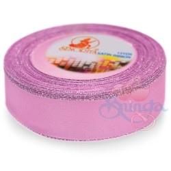 24mm Senorita Silver Edge Satin Ribbon - Vintage Pink 814s