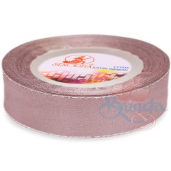 24mm Senorita Silver Edge Satin Ribbon - Rosy Brown 815s