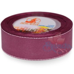 24mm Senorita Silver Edge Satin Ribbon -Mulberry 818s