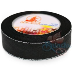 24mm Senorita Silver Edge Satin Ribbon - Black Silver Blks