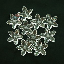 #2809 Acrylic Transparent Flower Bead 3.2cm - White (20gram/pack)