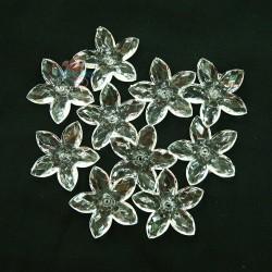 #2809 Acrylic Transparent Flower Bead 3.2cm - White (20gram/pack)