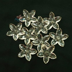 #2809 Acrylic Transparent Flower Bead 3.2cm - Light Beige (20gram/pack)
