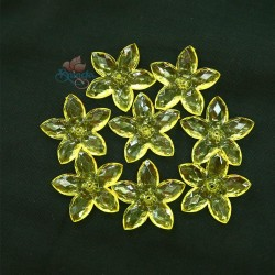 #2809 Acrylic Transparent Flower Bead 3.2cm - Yellow (20gram/pack)