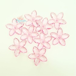 #2809 Acrylic Transparent Flower Bead 3.2cm - Light Pink (20gram/pack)
