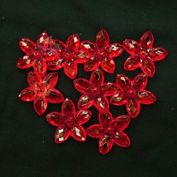 #2809 Acrylic Transparent Flower Bead 3.2cm - Red (20gram/pack)
