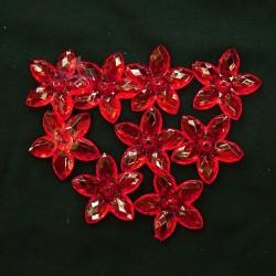 #2809 Acrylic Transparent Flower Bead 3.2cm - Red (20gram/pack)