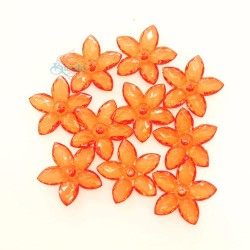 #2809 Acrylic Transparent Flower Bead 3.2cm - Orange (20gram/pack)
