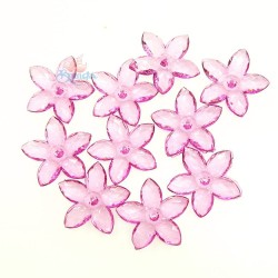 #2809 Acrylic Transparent Flower Bead 3.2cm - Light Magenta (20gram/pack)
