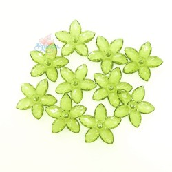 #2809 Acrylic Transparent Flower Bead 3.2cm - Olive Green (20gram/pack)