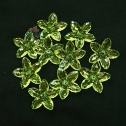 #2809 Acrylic Transparent Flower Bead 3.2cm - Grass Green (20gram/pack)