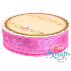 #3816 Senorita Fancy Ribbon 25mm - 013S Geranium Pink|Silver