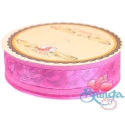 #3816 Senorita Fancy Ribbon 25mm - 013S Geranium Pink|Silver