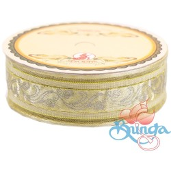 #3816 Senorita Fancy Ribbon 25mm - 01G Butter Milk|Gold
