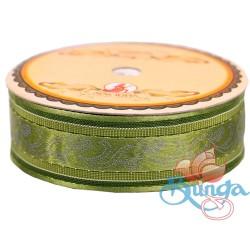 #3816 Senorita Fancy Ribbon 25mm - 208S Spring Moss|Silver