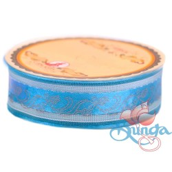 #3816 Senorita Fancy Ribbon 25mm - 24S Dress Blue|Silver