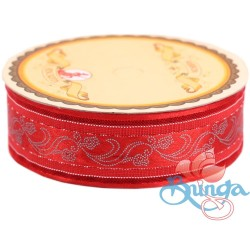 #3816 Senorita Fancy Ribbon 25mm - 28S Red|Silver