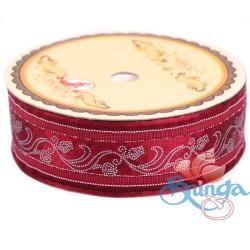 #3816 Senorita Fancy Ribbon 25mm - 028S Maroon|Silver