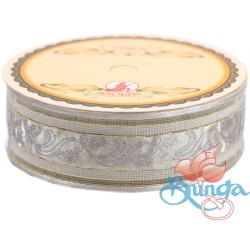 #3816 Senorita Fancy Ribbon 25mm - WG White|Gold