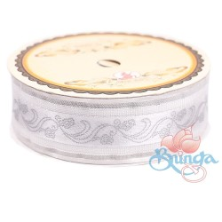 #3816 Senorita Fancy Ribbon 25mm - White|Silver