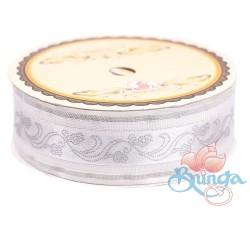 #3816 Senorita Fancy Ribbon 25mm - White|Silver